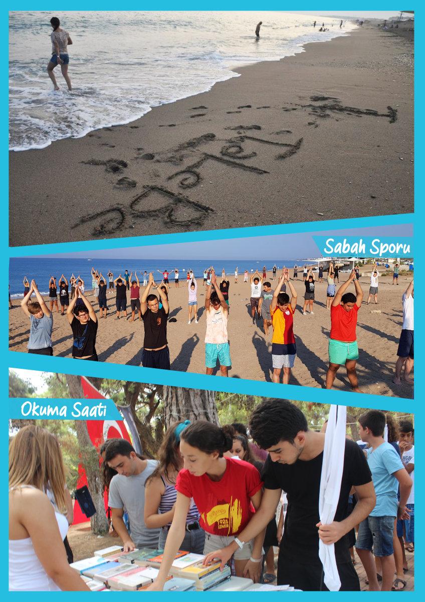 Deniz kenarında sabah sporuyla başladığımız güne birbirimizden öğrenerek devam ederiz.